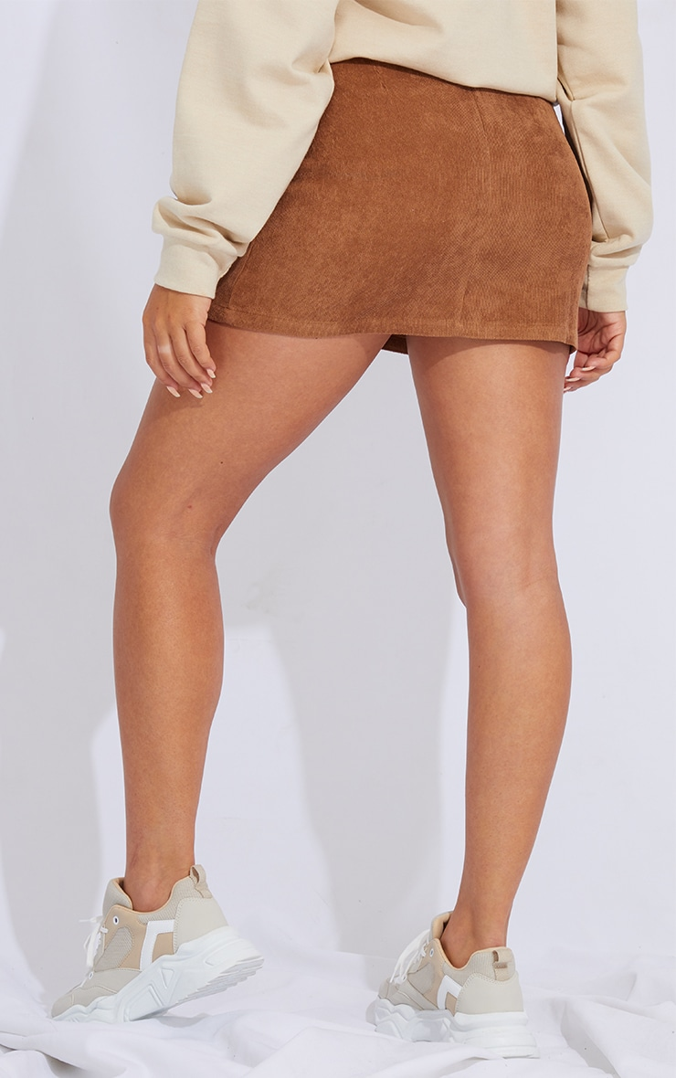 Camel Buckle Belted Cord Mini Skirt 3