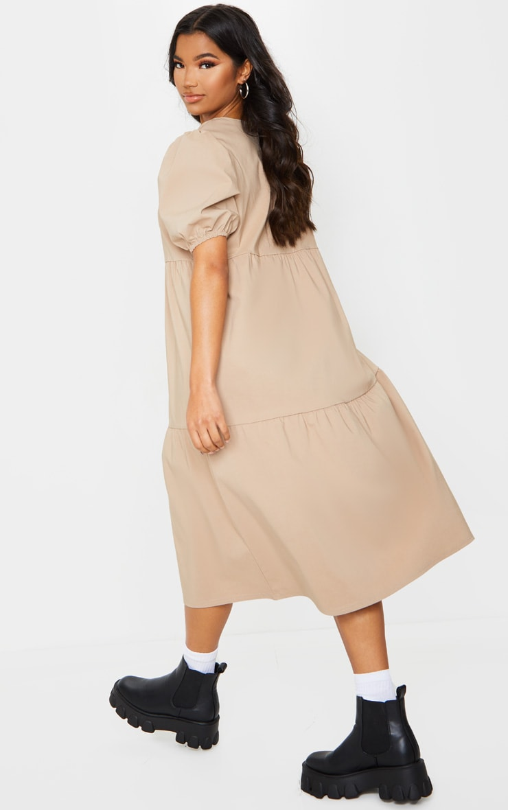 Camel Puff Sleeve Tiered Midi Smock Dress 2