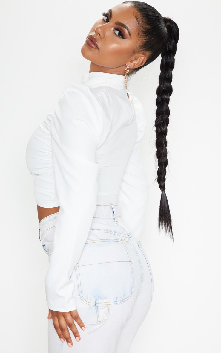 White Ruched High Neck Top 2