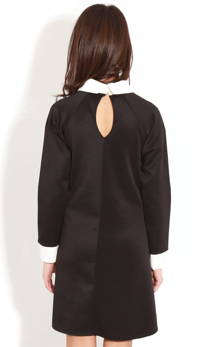 Evelyn Black Long Sleeved Collar Dress 2
