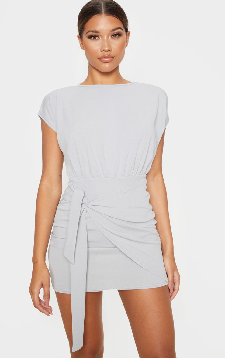 Grey Tie Waist Wrap Detail Bodycon Dress 1