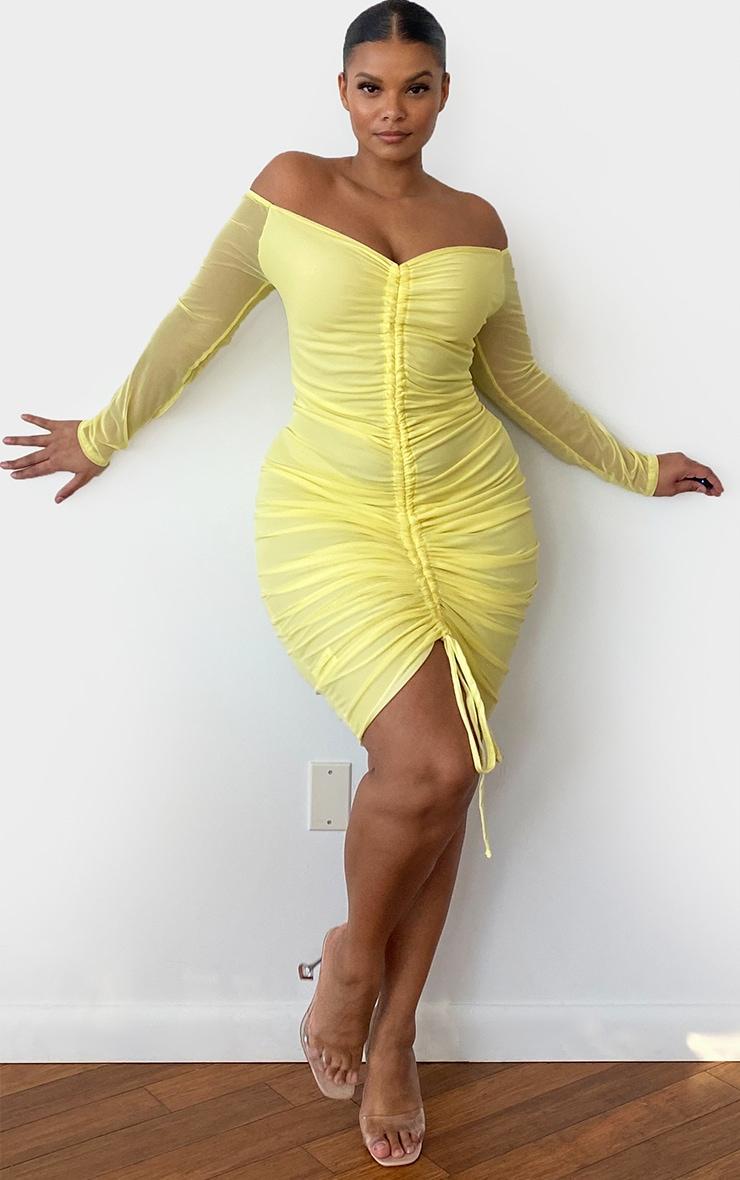 Plus Lemon Mesh Ruched Bardot Midi Dress 3