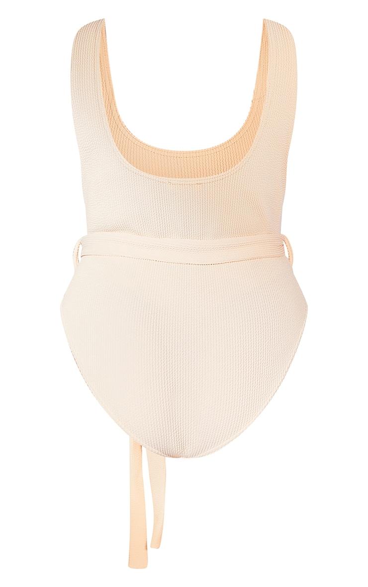 Plus Cream Crinkle Belted Tie Waist Swimsuit 6