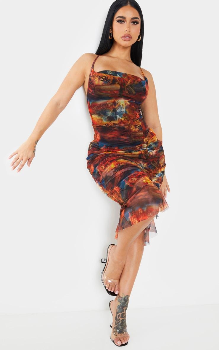 Shape Red Renaissance Print Mesh Cowl Ruched Midi Dress 3