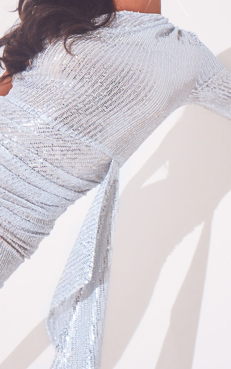 Silver Sequin One Shoulder Drape Detail Ruched Bodycon Dress 5