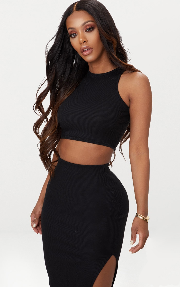 Shape Black Ribbed Sleeveless Crop Top 1