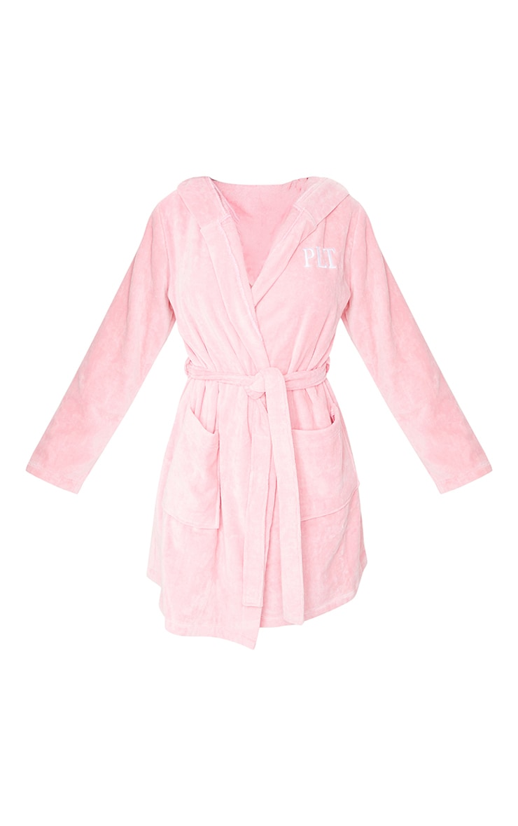 PRETTYLITTLETHING Pink Hood Detail Towelled Dressing Gown 5