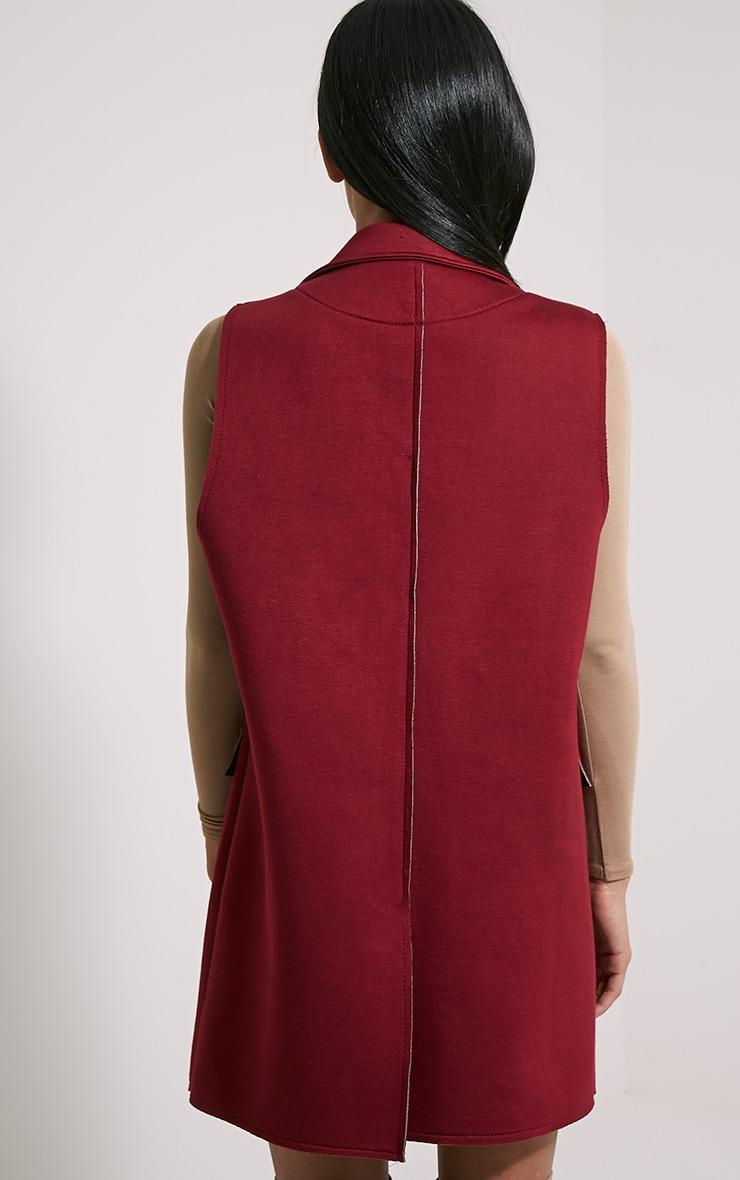 Floria Burgundy Sleeveless Structured Blazer 2