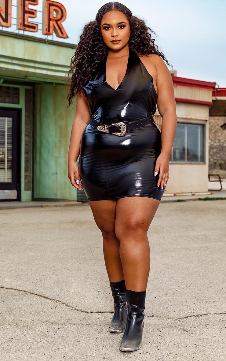 Plus Black Halterneck Bodycon Dress 3