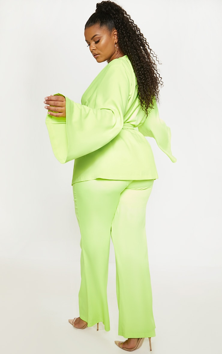Plus Neon Lime Woven Belt Detail Blazer 2