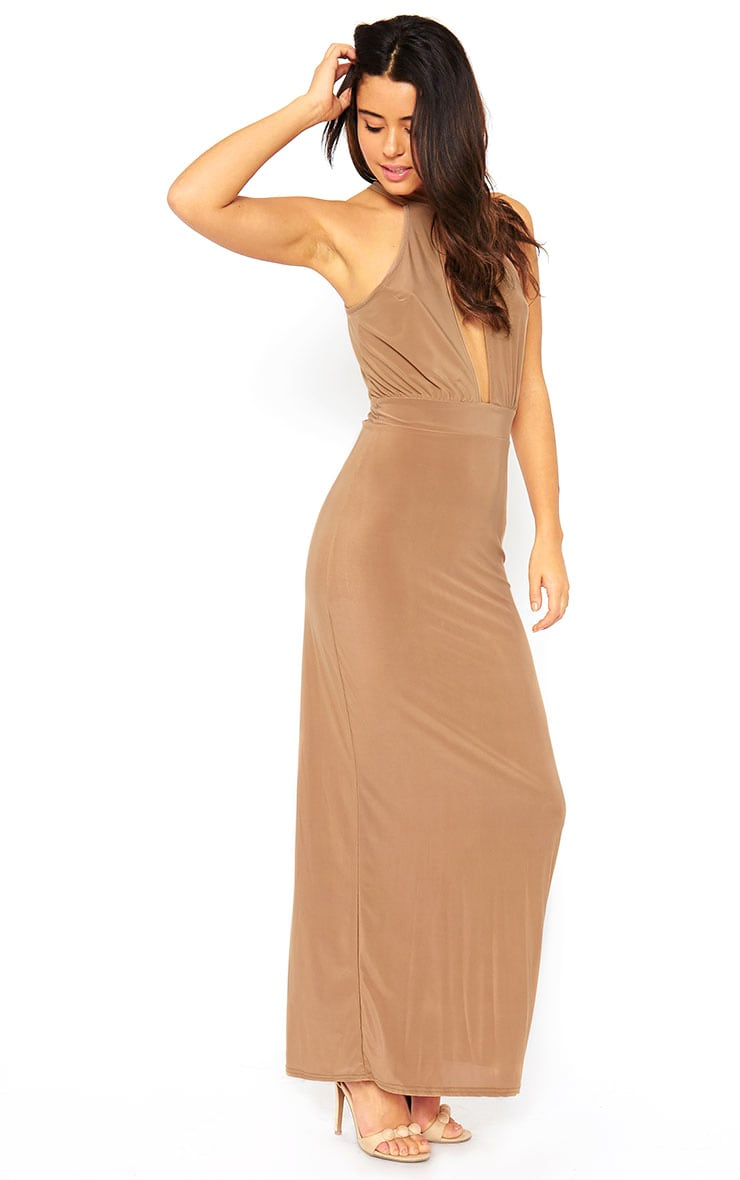 Desiree Camel Slit Front Maxi Dress 3