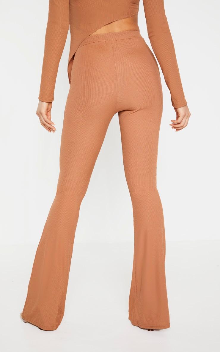 Tall Camel Ribbed Flared Pants 3