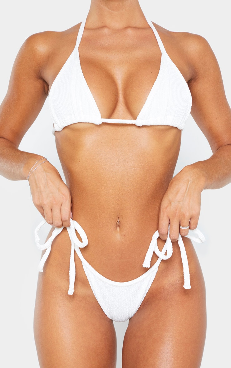 Cream Soft Crinkle Bikini Tie Side Bottom 5