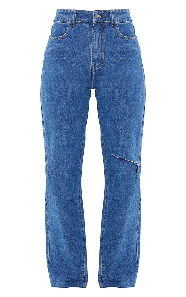 Mid Blue Wash Knee Rip Wide Leg Jean 5