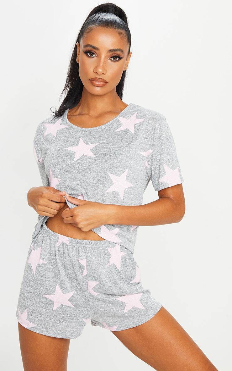 Grey and Pink Star Print Short PJ Set 1