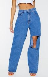 Mid Blue Wash Extreme Knee Rip Boyfriend Jeans 2