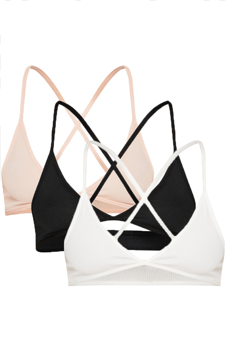 White, Black & Nude 3 Pack Ribbed Bra 3