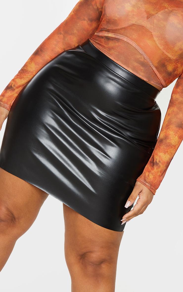 Plus Black Basic Faux Leather Mini Skirt 5