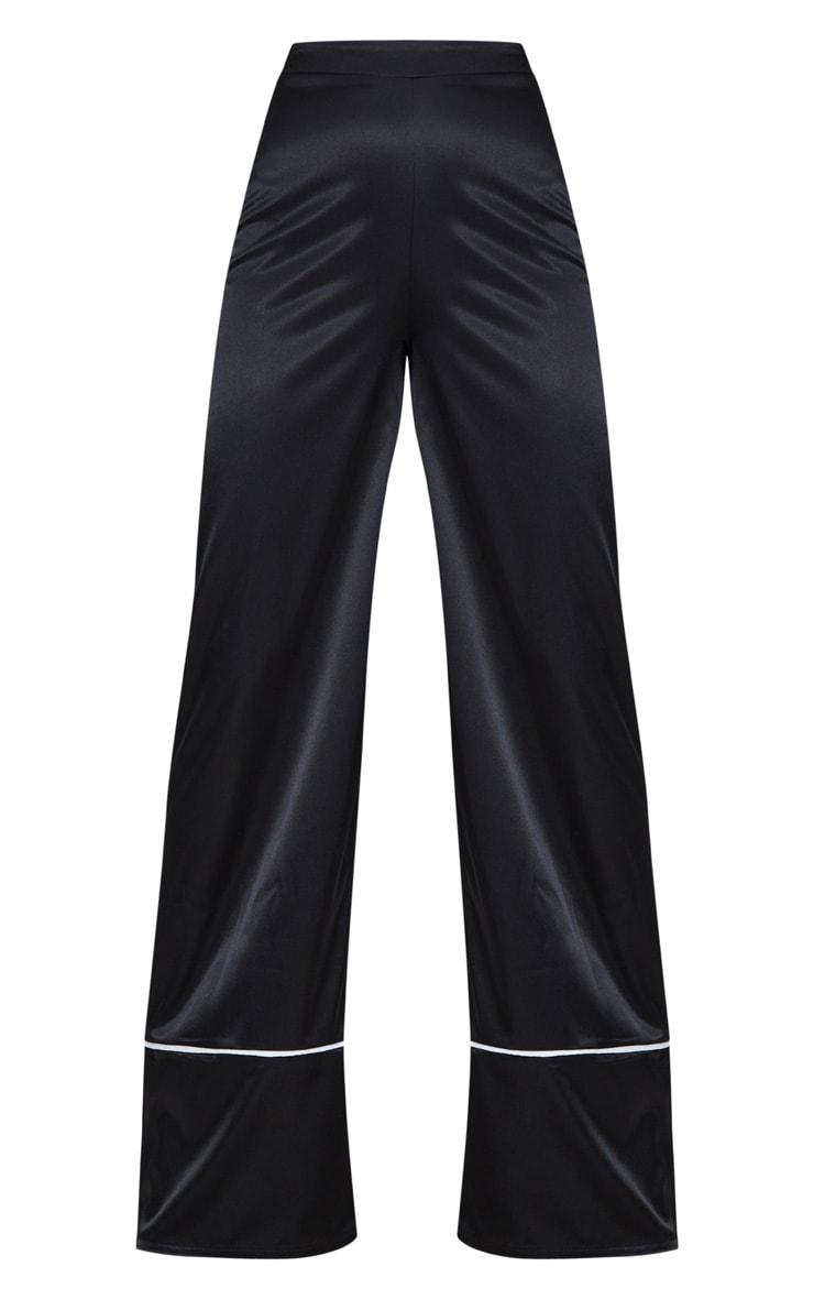 Black Satin Contrast Trim Wide Leg Trousers 3