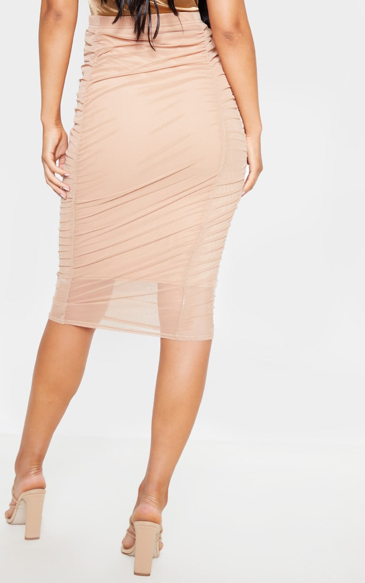 Camel Second Skin Ruched Mesh Midi Skirt 3