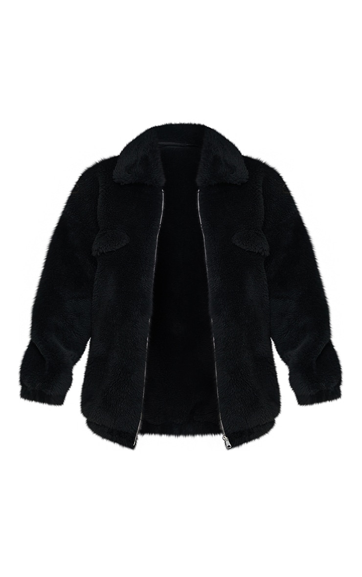 Black Long Faux Fur Oversized Collar Jacket 5
