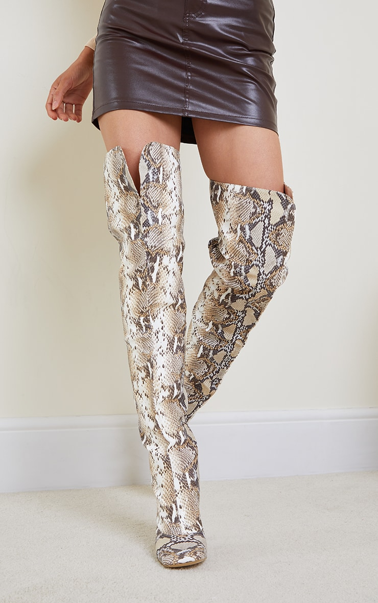 Natural Snake Square Toe Flat Heel Thigh High Boots 2