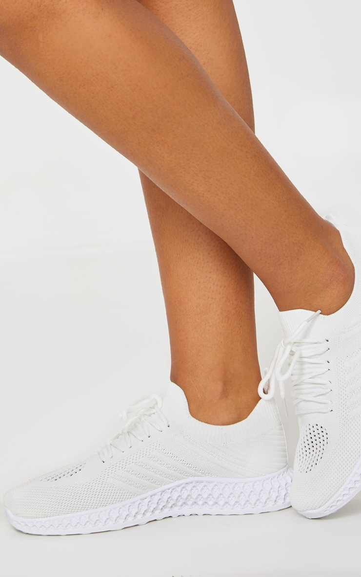 White Knitted Lace Up Trainers 2