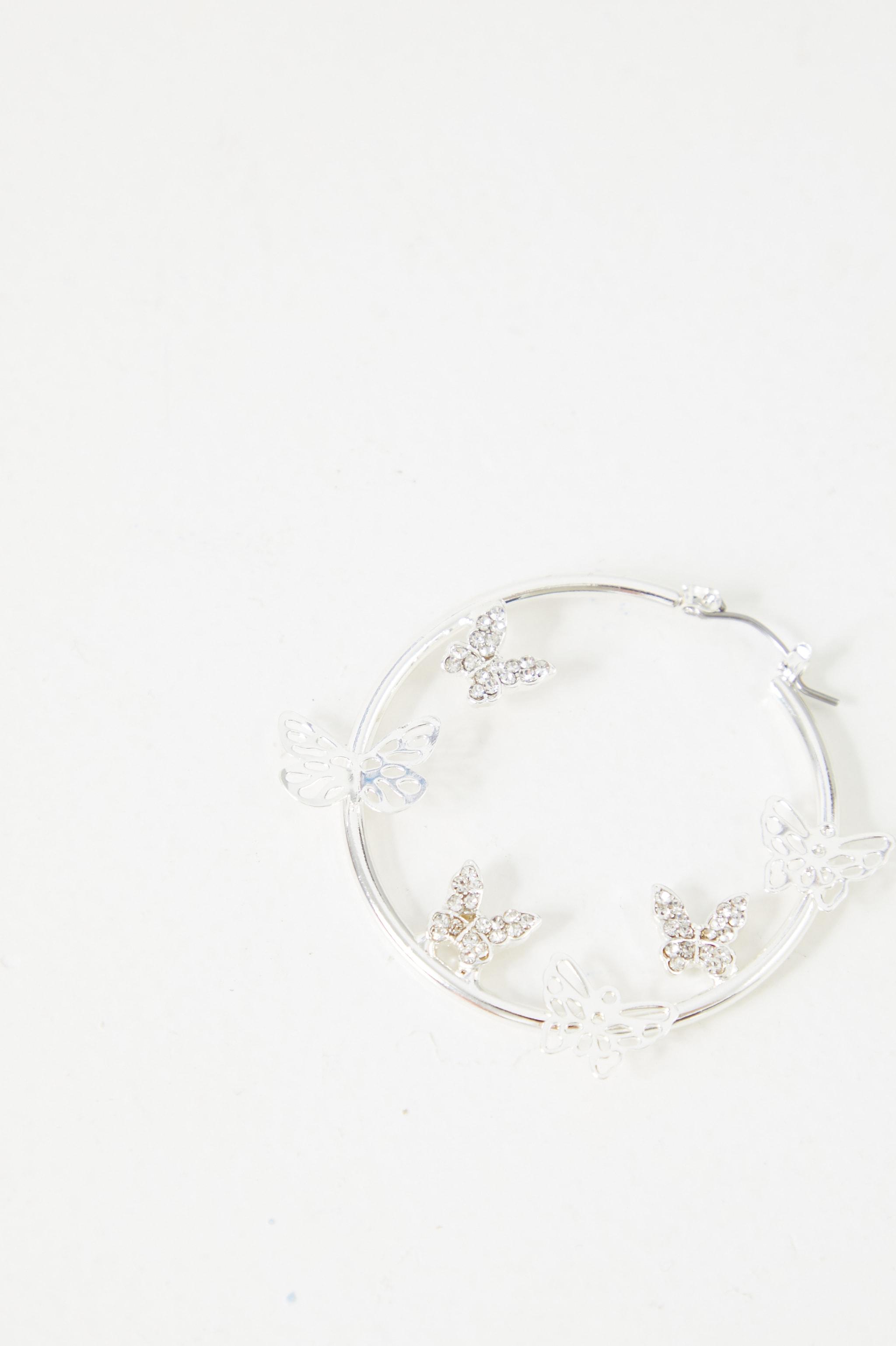 Silver Mixed Diamante Butterfly Hoop Earrings 3