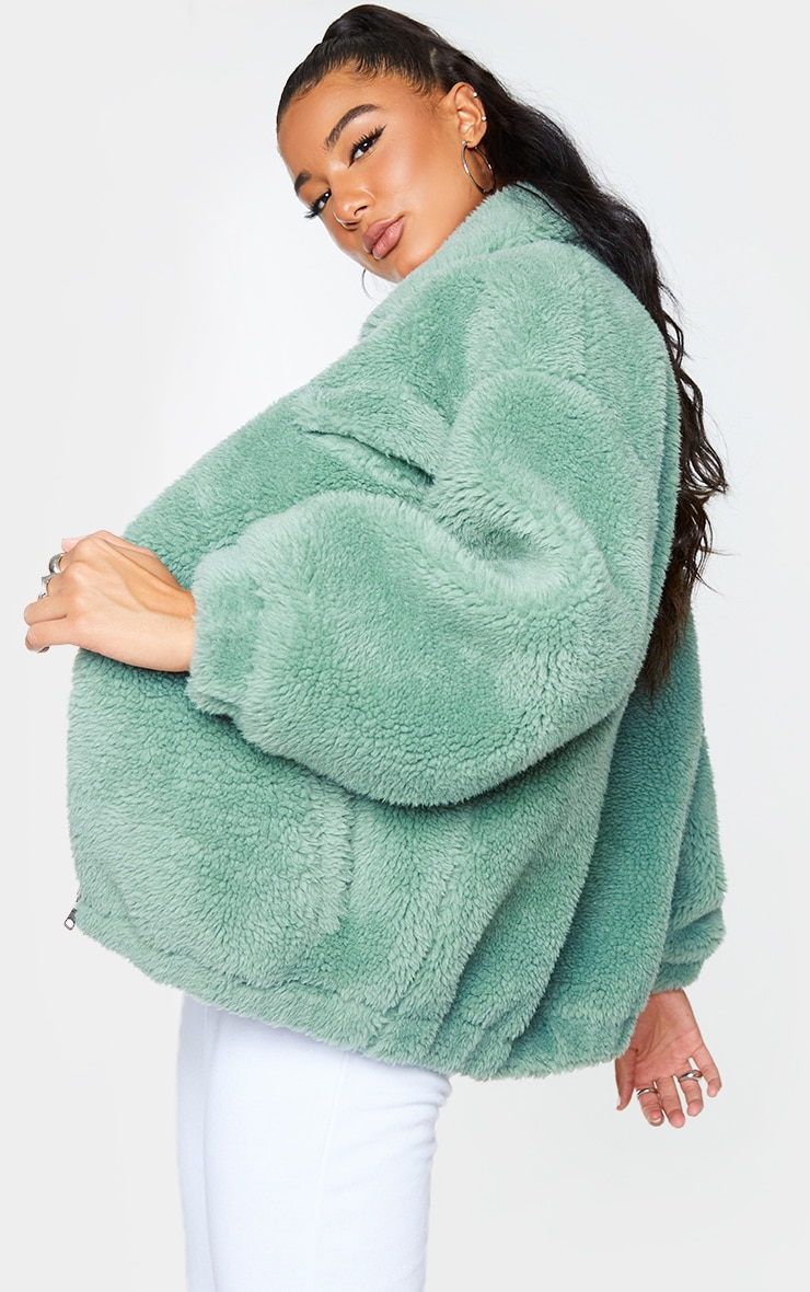 Green Long Faux Fur Oversized Collar Jacket 2