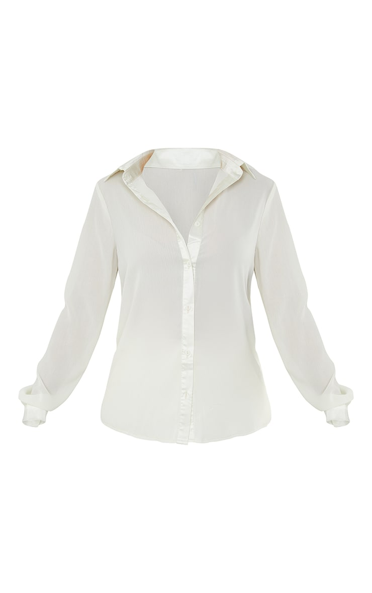 Cream Woven Crinkle Texture Shirt 5