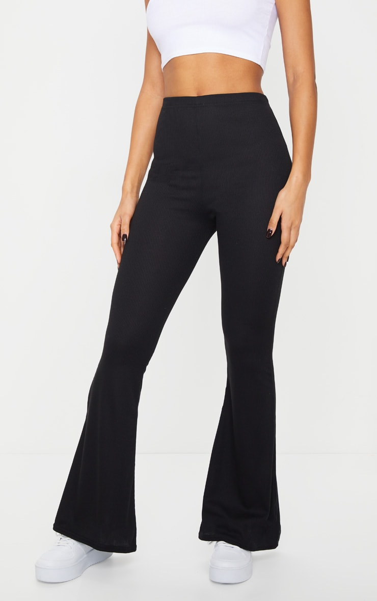 Black Ribbed Flared Trousers 2