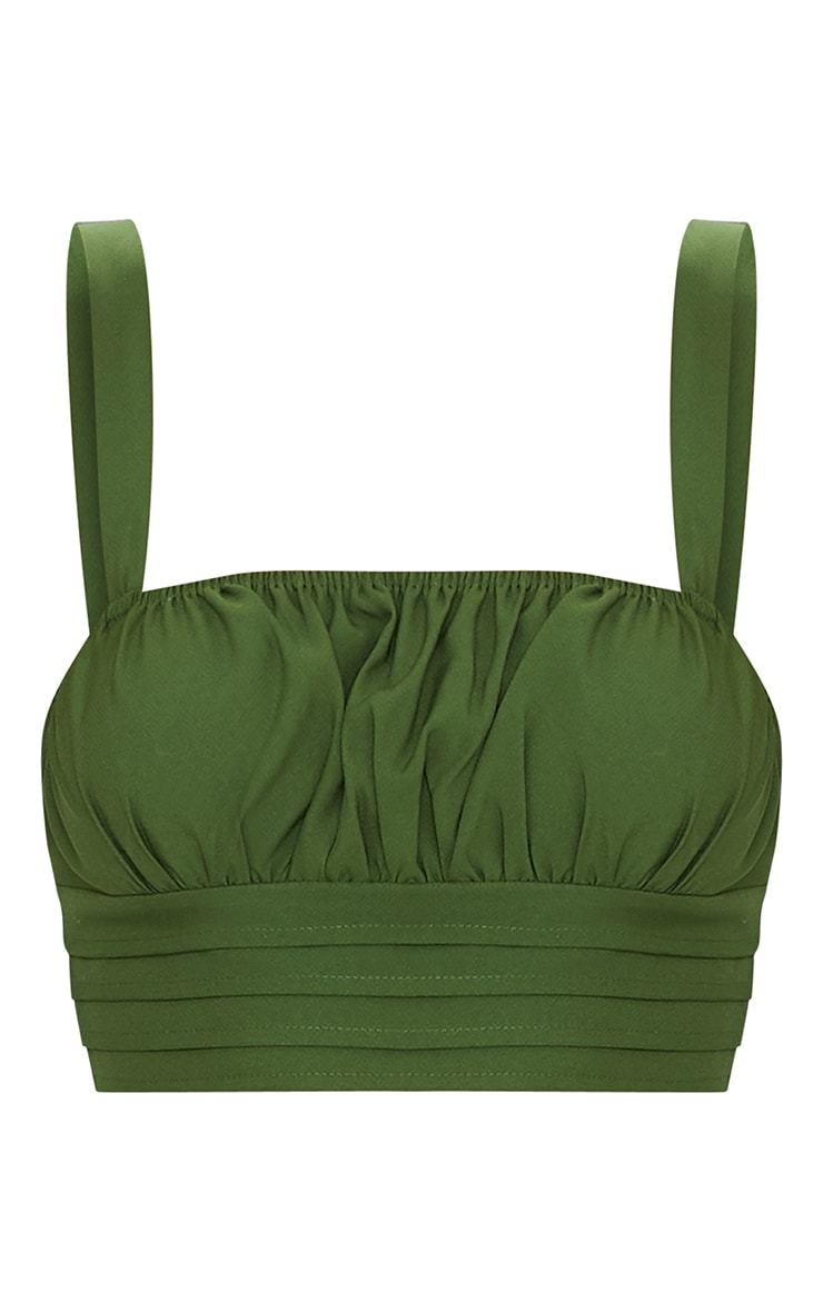 Olive Ruched Bust Detail Longline Crop Top 5