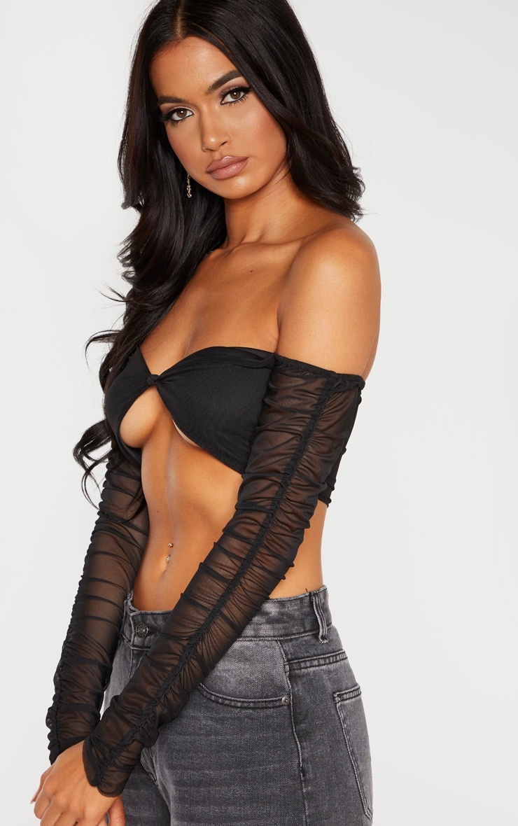 Black Mesh Ruched Sleeve Crop Top  5