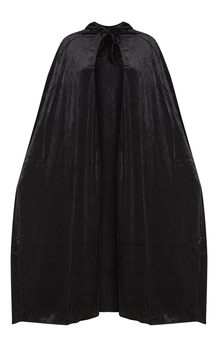 Hood Black Velvet Cape Fancy Dress Outfit 3