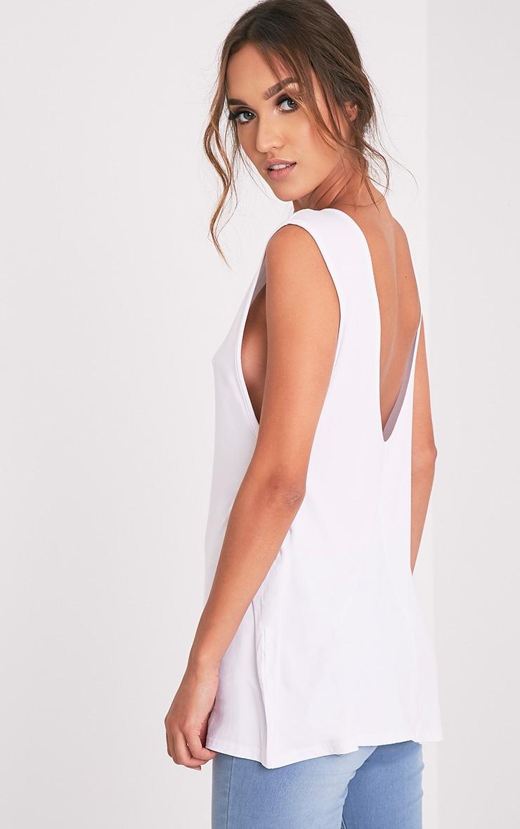Basic débardeur long à dos en V en jersey blanc 1