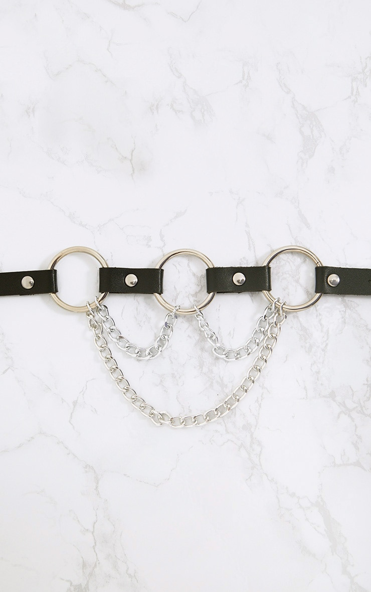 Black Triple Ring & Chain Detail Waist Belt 4