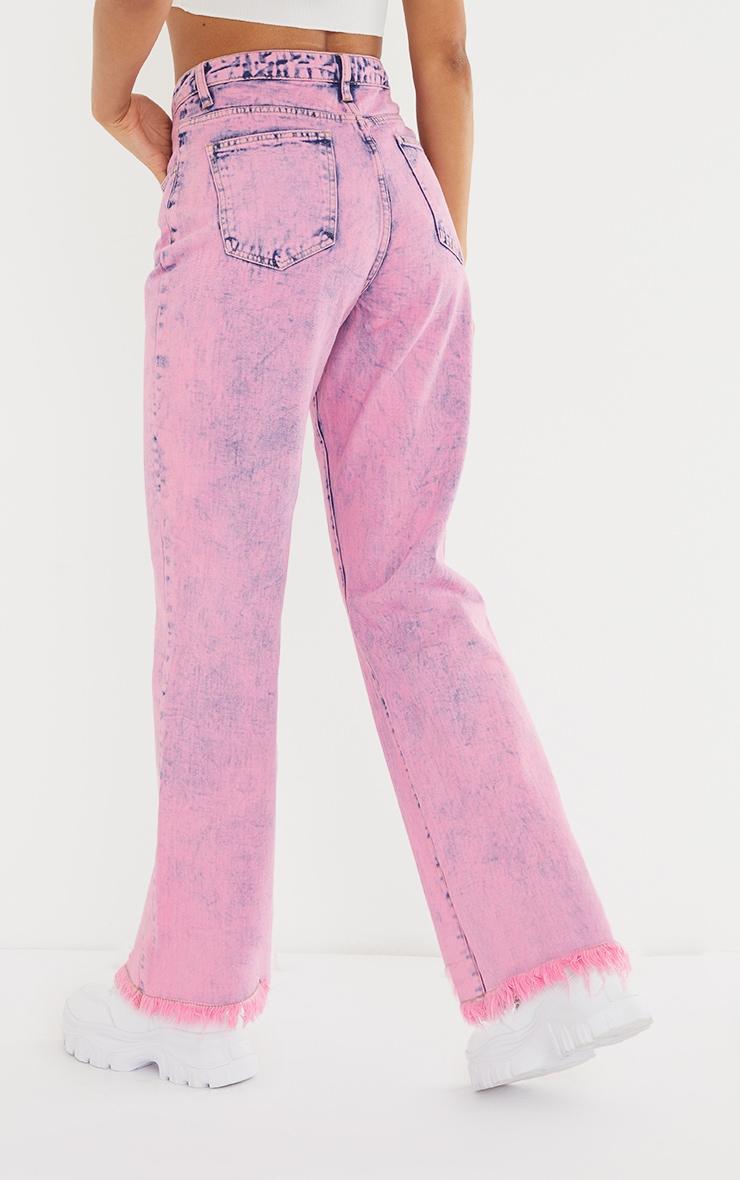 Pink Acid Wash Denim Frayed Hem Wide Leg 3