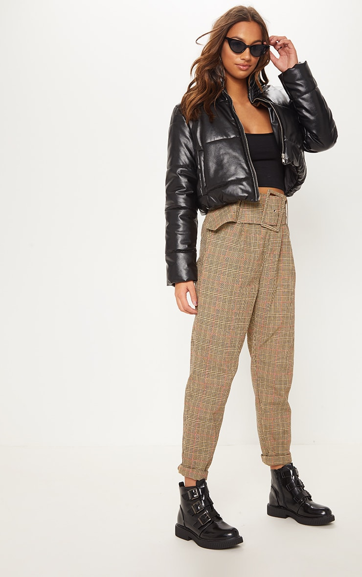 Stone Check Super High Waisted Printed Belted Tapered Trouser 1