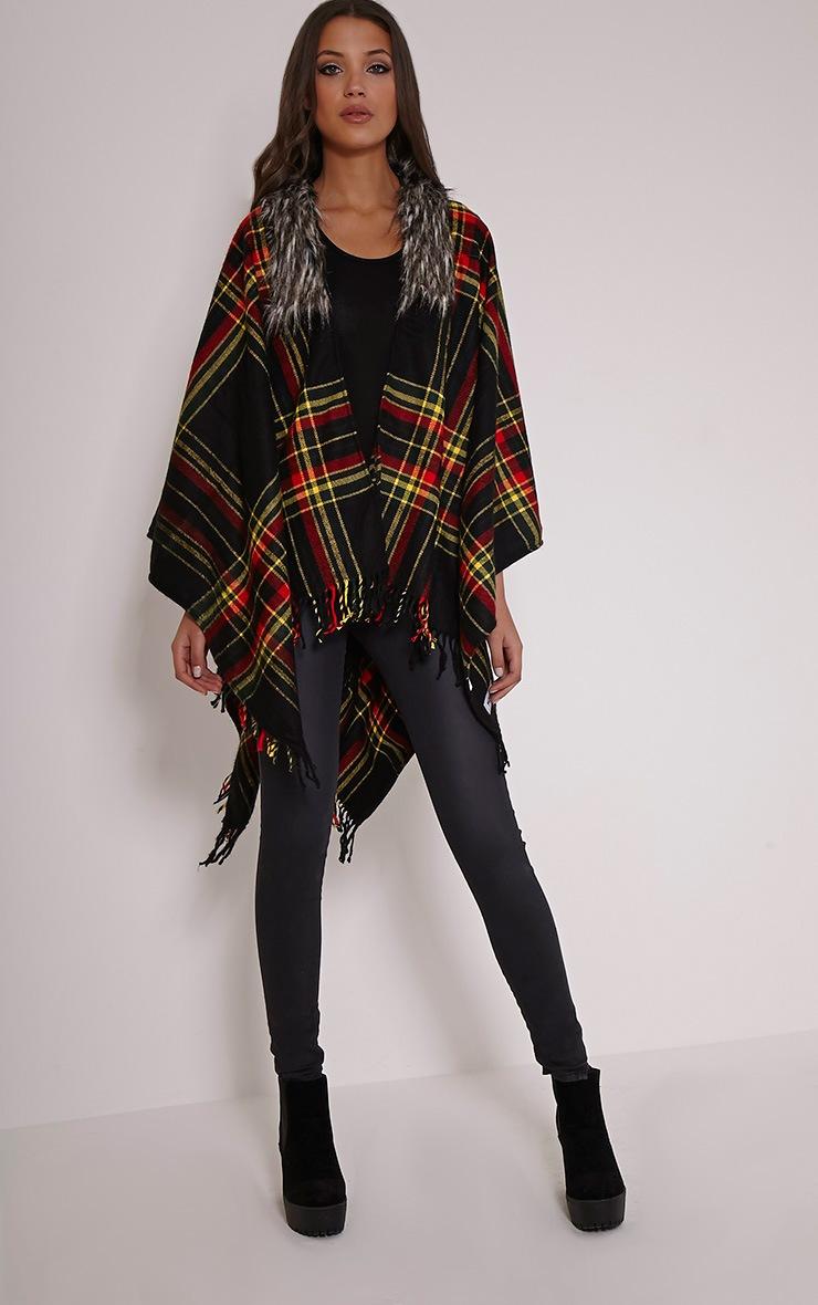 Stacey Black Tartan Fur Collar Shawl 1