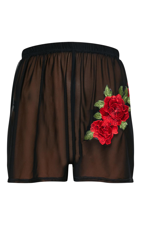 Black Floral Applique Mesh Floaty Shorts 3