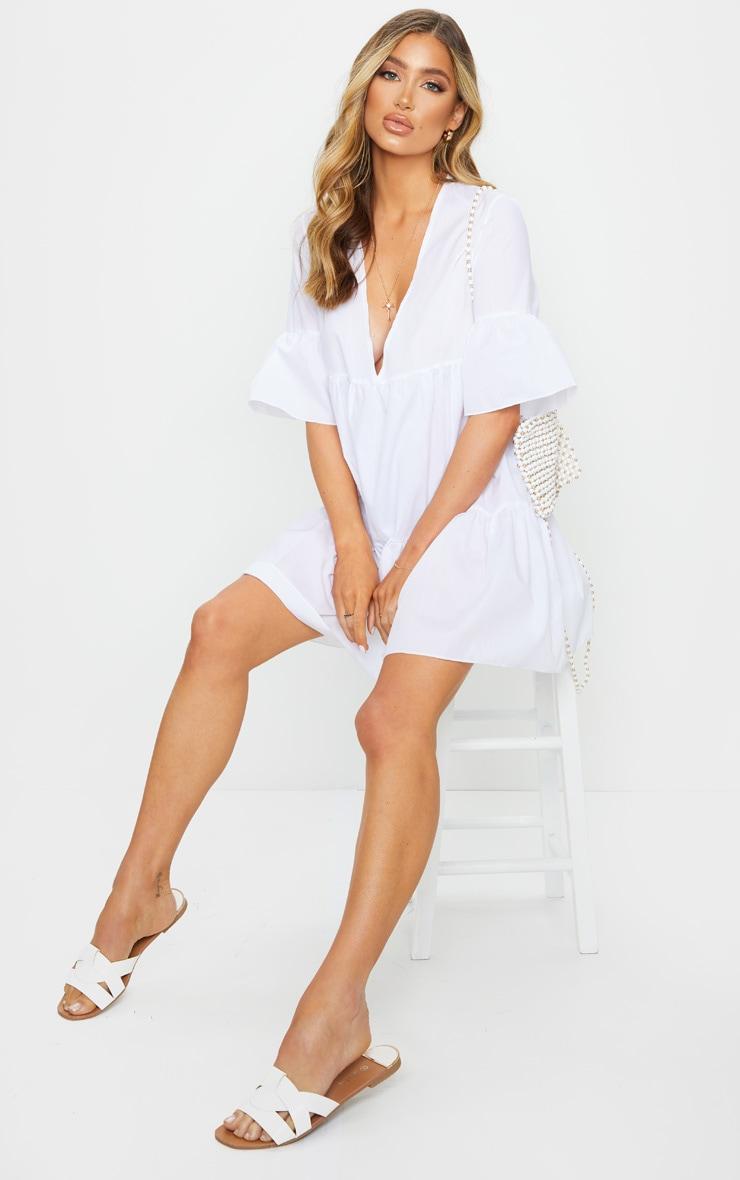 White V Neck Frill Sleeve Tiered Smock Dress 3
