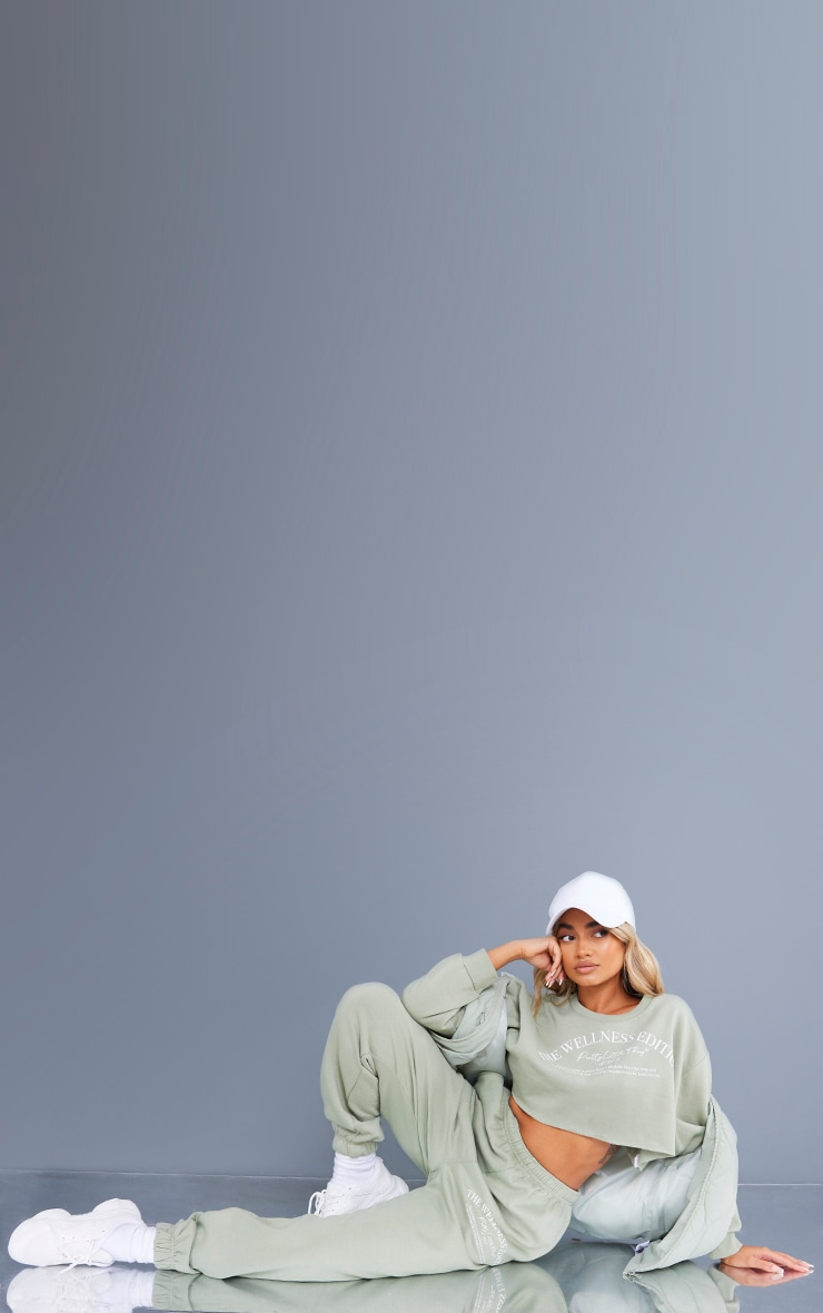 Recycled Petite Sage Green Wellness Crop Sweat and Jogger Set 3