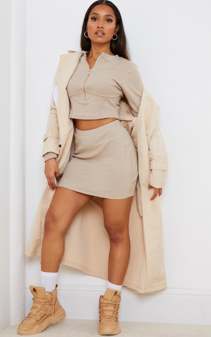Petite Stone Ribbed Bodycon Skirt 1