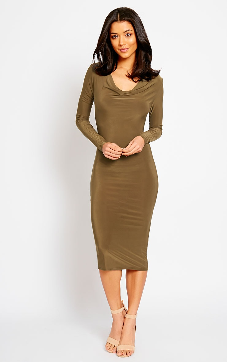 Ziva Khaki Slinky Cowl Neck Midi Dress 4