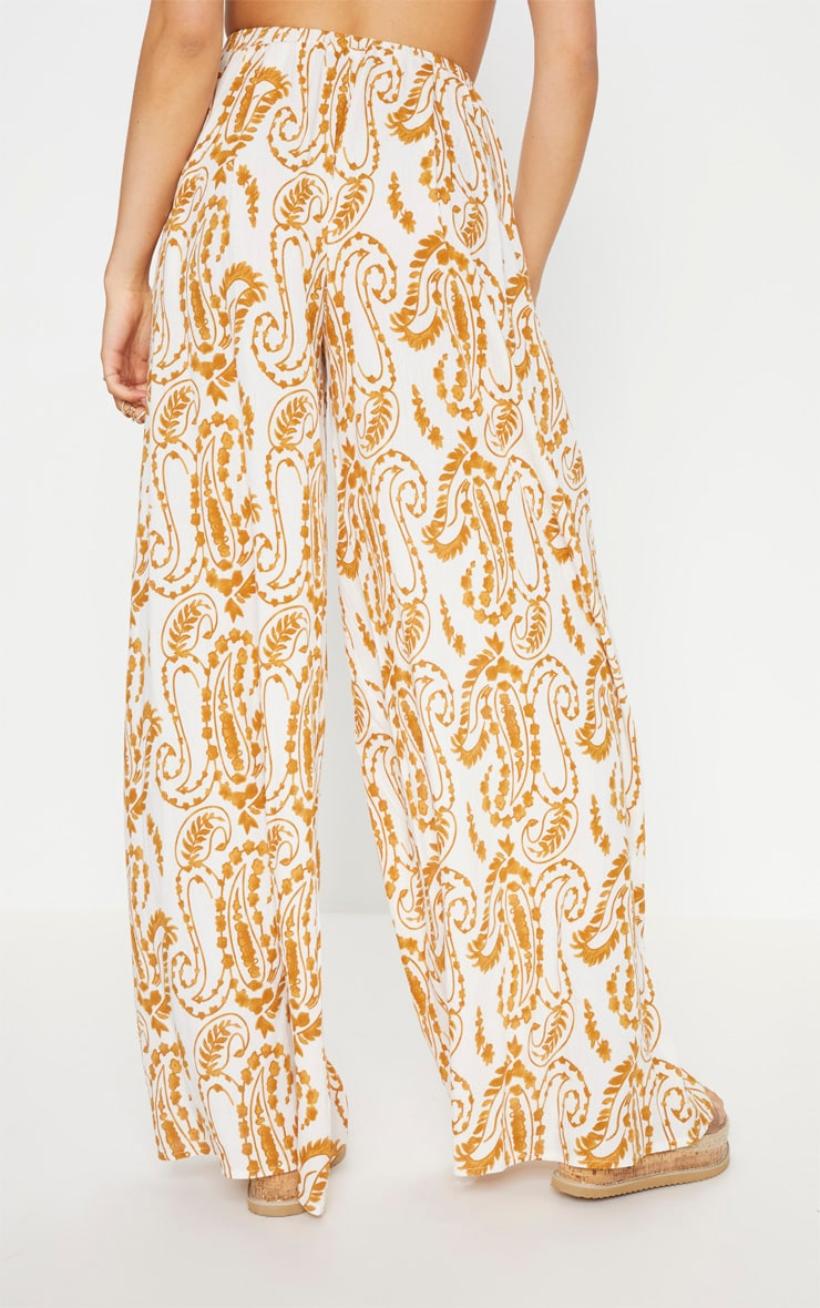 White Paisley Print Wide Leg Trousers 4