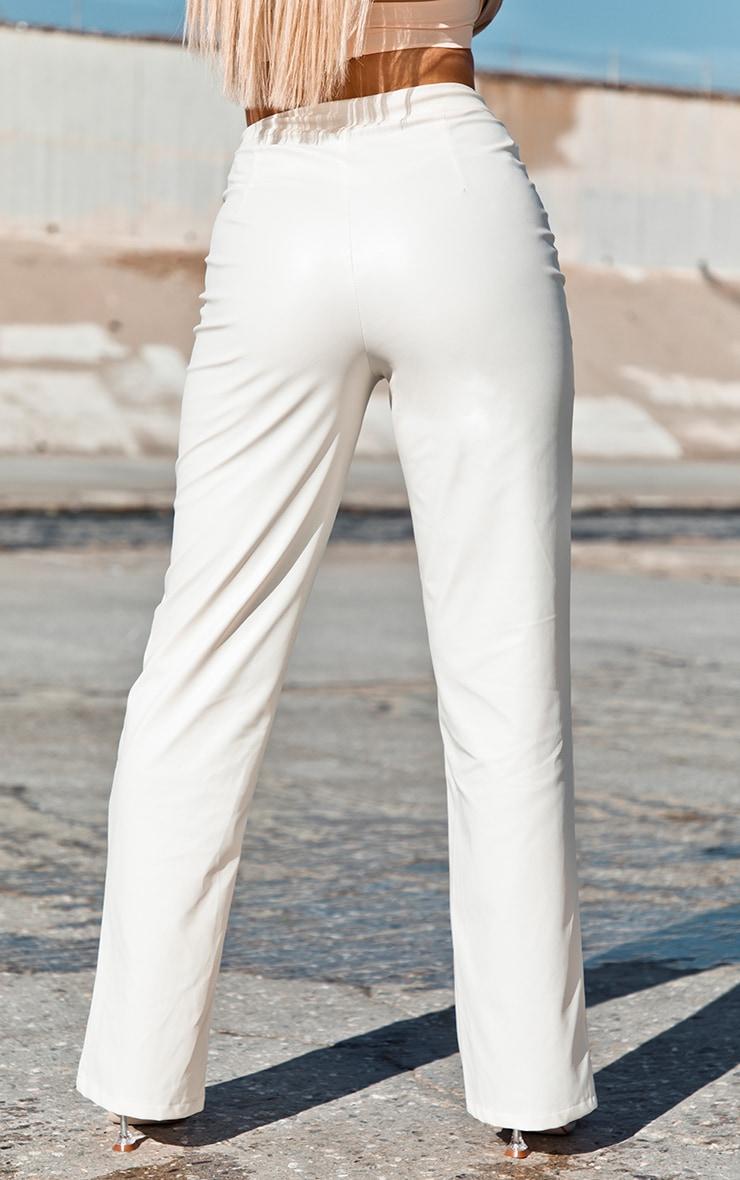 Cream Faux Leather Split Hem Trousers 3