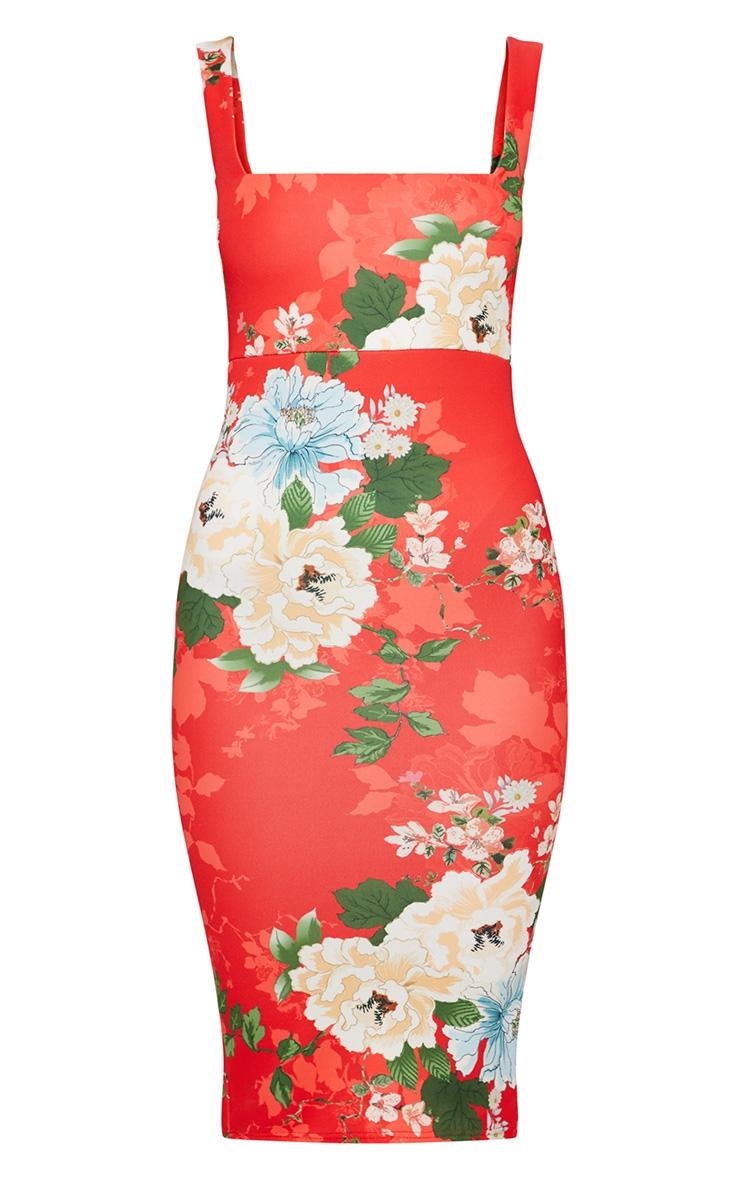 Red Floral Square Neck Tie Back Midi Dress 3