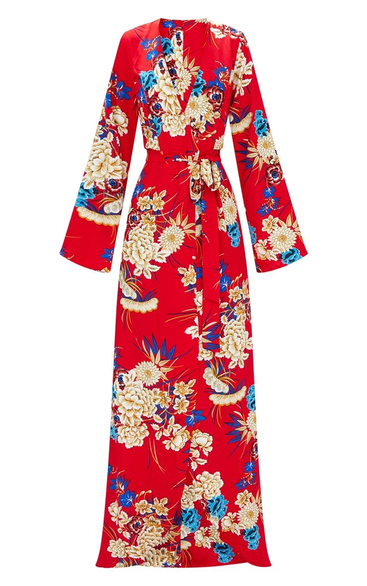 Robe kimono maxi rouge à imprimé fleuri 3