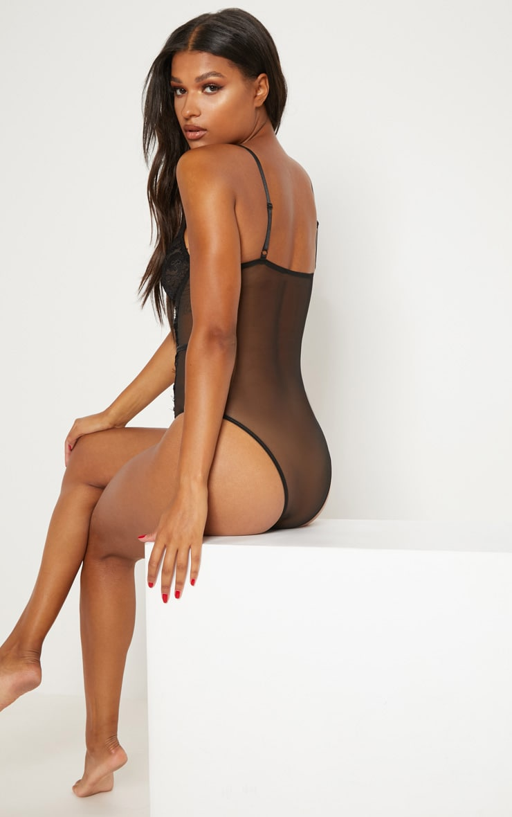 Black Cross Front Mixed Lace Body 2