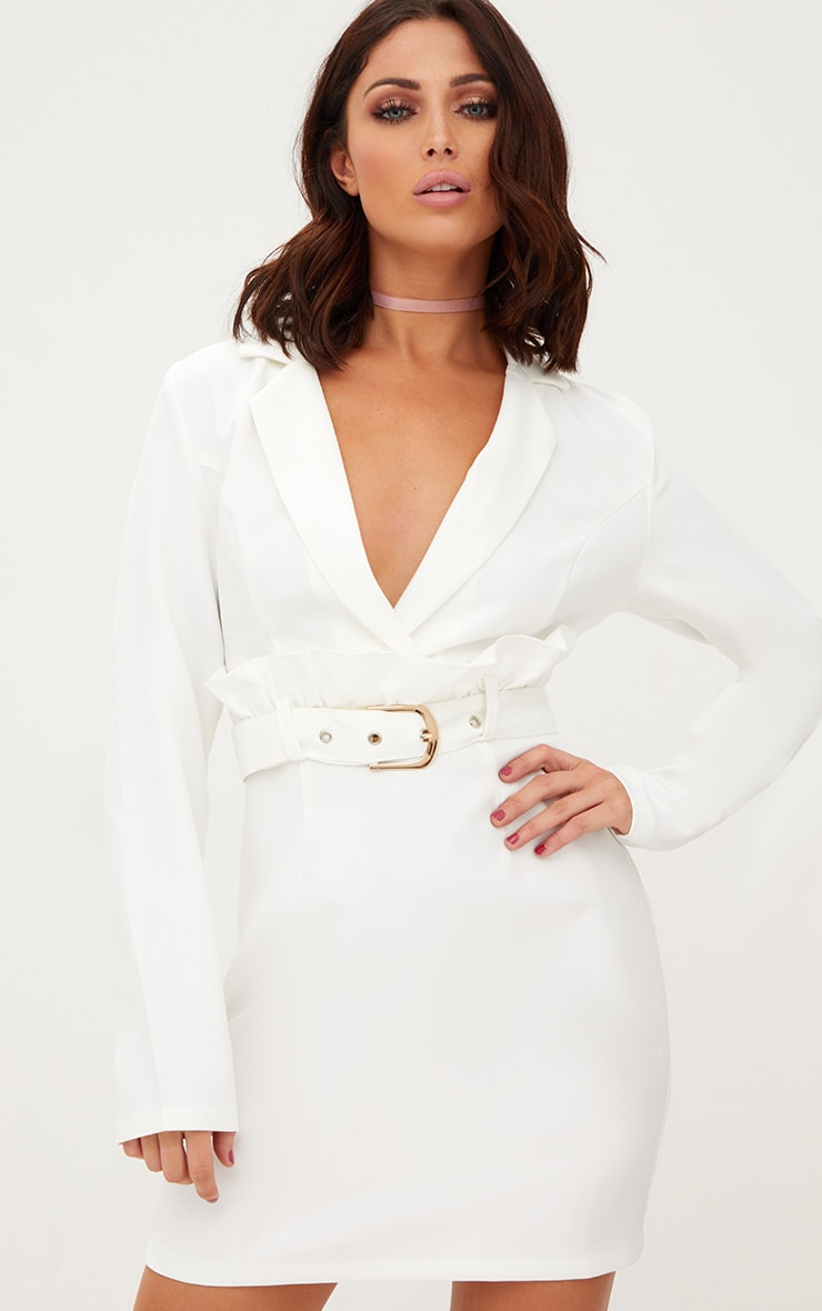 b5d6fbb1b17 White Frill Waist Belted Blazer Dress image 1